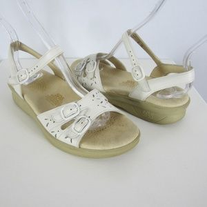 SAS Duo Size 6 Wide White Leather Sandals Comfort